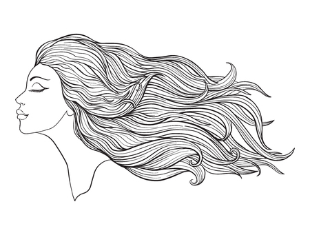 Young beautiful girl with long hair. Stock line vector illustration. Outline drawing. Outline hand drawing coloring page for adult coloring book.