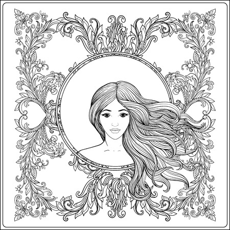 Young beautiful girl with long hair in rich decorated floral patterned frame.