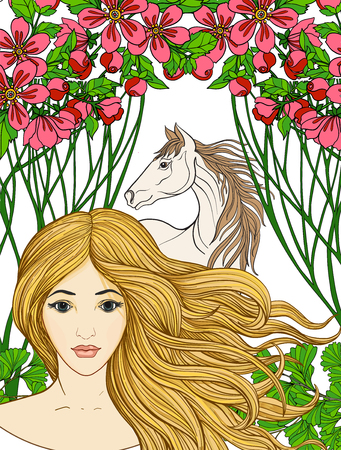 Young beautiful girl with long hair in the summer garden with th