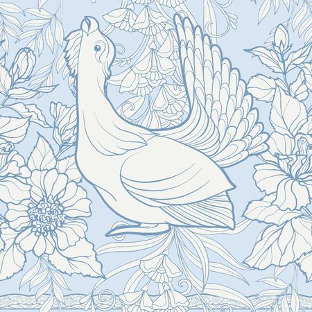 シームレスなパターン、背景に装飾的な花、アール ヌーボー様式、ヴィンテージ、レトロ、古いスタイルの鳥。