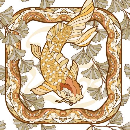 원활한 패턴, 장식 꽃과 잉어 배경 아르누보 스타일, 빈티지, 오래 된, 복고 스타일에서 물고기. 주식 벡터 일러스트 레이 션.