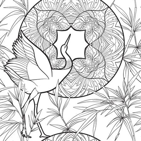 원활한 패턴, 장식 꽃과 아르누보 스타일, 빈티지, 오래 된, 복고 스타일에 조류와 배경. 개요 그리기 ... 주식 벡터 일러스트 레이 션.