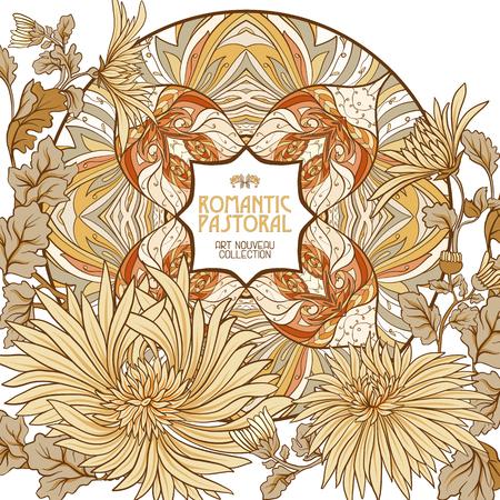 아르 누누 스타일의 장식 꽃. 일러스트