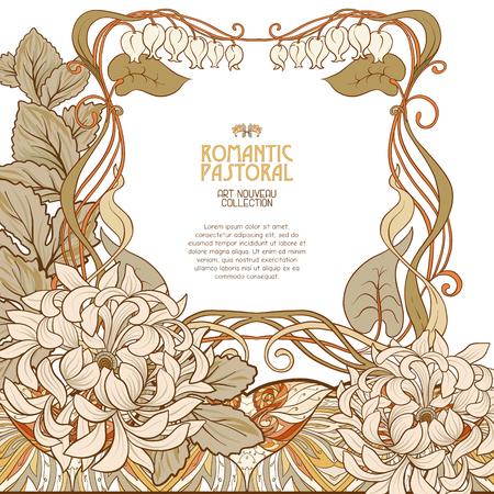 Dekorative Blumen im Art Nouveau Stil. Standard-Bild - 89765797