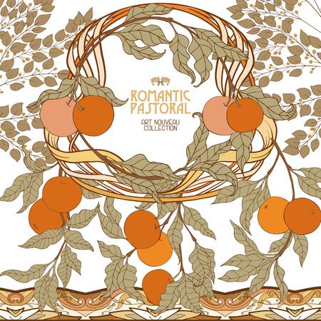 Dekorative Blumen im Art Nouveau Stil. Standard-Bild - 89765809