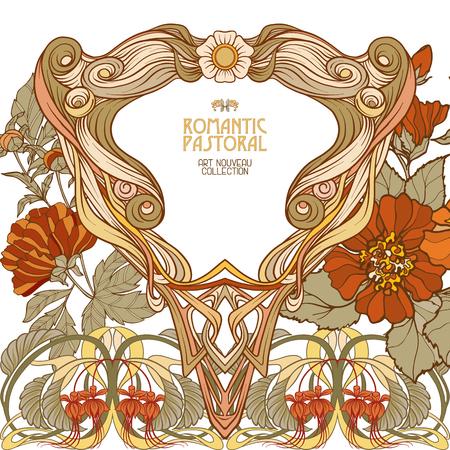 아르 누누 스타일의 장식 꽃. 스톡 콘텐츠 - 89765810