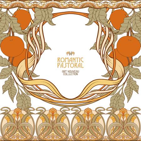 Dekorative Blumen im Art Nouveau Stil. Standard-Bild - 89765811