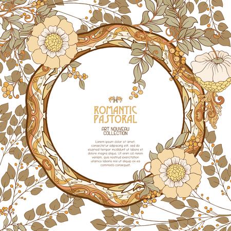 Decorative flowers in art nouveau style. Illustration