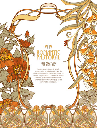 Decorative flowers in art nouveau style. Stock Illustratie