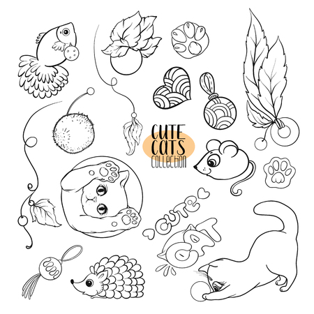 Set of cute cats with different emotions. Stock vector illustration. Outline hand drawing. Illustration
