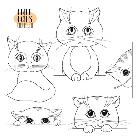 Set of cute cats with different emotions. Stock vector illustration. Outline hand drawing. Stock Photo