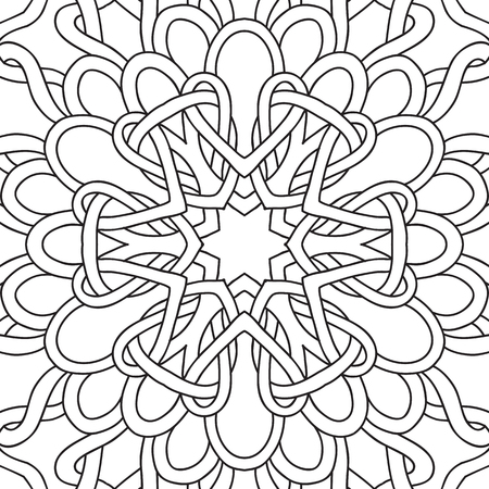 seamless pattern. Outline hand drawing. Good for coloring page for the adult coloring book. Stock vector illustration.Abstract vector decorative ethnic mandala black and white 免版税图像 - 111921619