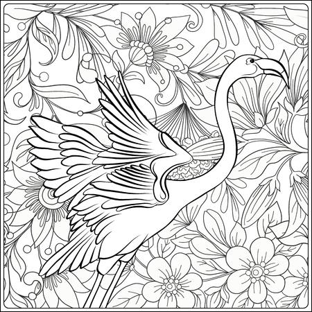 Flamingo en jardín de flores de fantasía. Esquema de dibujo a mano. Bueno para colorear página para el libro de colorear para adultos. Ilustración vectorial de stock. Ilustración de vector