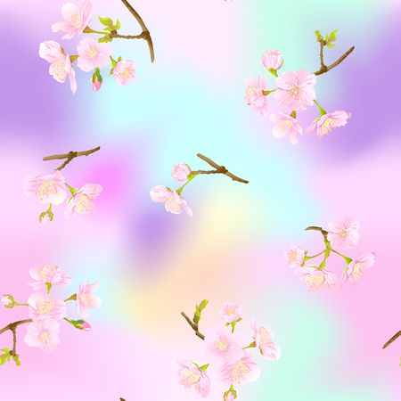 Seamless pattern, background with blooming cherry japanese sakura in soft rose pink colors. Stock vector illustration. In light ultra violet pastel colors on mesh pink, blue background.