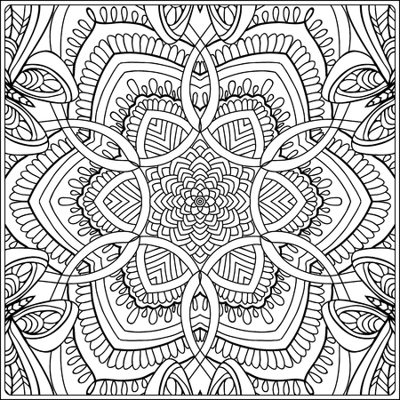 seamless pattern. Outline hand drawing. Good for coloring page for the adult coloring book. Stock vector illustration.Abstract vector decorative ethnic mandala black and white Foto de archivo - 111921628