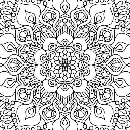 patrón sin costuras. Esquema de dibujo a mano. Bueno para colorear página para el libro de colorear para adultos. Stock vector illustration.Abstracto vector decorativo étnico mandala blanco y negro