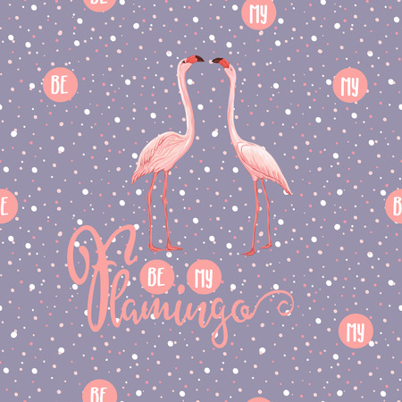 Seamless pattern, background. with pink flamingos and feathers on a soft ultra violet and dots background. Stock vectorillustration.