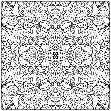 seamless pattern. Outline hand drawing. Good for coloring page for the adult coloring book. Stock vector illustration.Abstract vector decorative ethnic mandala black and white Banco de Imagens - 111921637