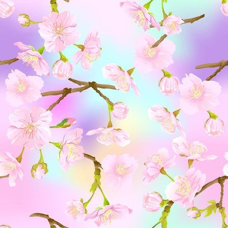 Seamless pattern, background with blooming cherry japanese sakura in soft rose pink colors. Stock vector illustration. In light ultra violet pastel colors on mesh pink, blue background. Ilustracja