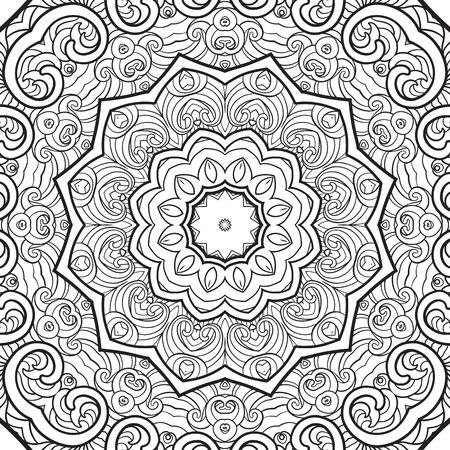 modello senza soluzione di continuità. Schema disegno a mano. Buono per colorare la pagina per il libro da colorare per adulti. Stock illustrazione vettoriale Abstract vettore decorativo etnico mandala in bianco e nero Vettoriali