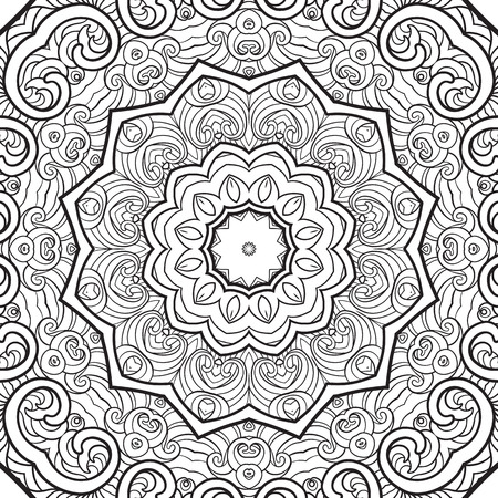 seamless pattern. Outline hand drawing. Good for coloring page for the adult coloring book. Stock vector illustration.Abstract vector decorative ethnic mandala black and white Foto de archivo - 111921648