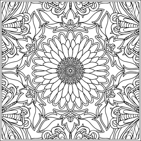 seamless pattern. Outline hand drawing. Good for coloring page for the adult coloring book. Stock vector illustration.Abstract vector decorative ethnic mandala black and white Standard-Bild - 111921652