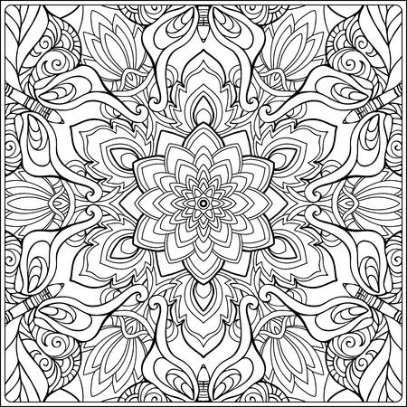 nahtloses Muster. Handzeichnung skizzieren. Gut zum Ausmalen für das Malbuch für Erwachsene. Stock Vektor-Illustration.Abstrakt Vektor dekorative ethnische Mandala schwarz und weiß