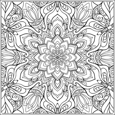 seamless pattern. Outline hand drawing. Good for coloring page for the adult coloring book. Stock vector illustration.Abstract vector decorative ethnic mandala black and white 스톡 콘텐츠 - 106545535