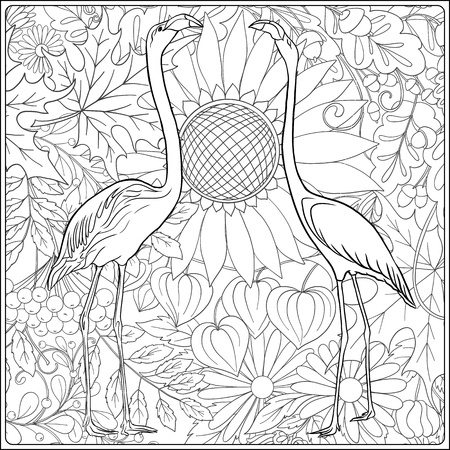 Flamingo in fantasy flower garden. Outline hand drawing. Good for coloring page for the adult coloring book. Stock vector illustration. Standard-Bild - 111921654