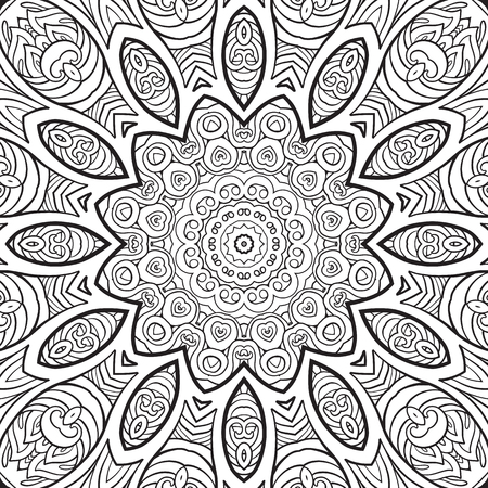 modèle sans couture. Dessin à la main de contour. Bon pour la page de coloriage pour le livre de coloriage adulte. Illustration vectorielle stock Abstrait vector décoratif mandala ethnique noir et blanc
