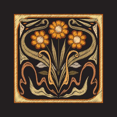 Broderie avec des éléments décoratifs dans le style des carreaux de céramique
