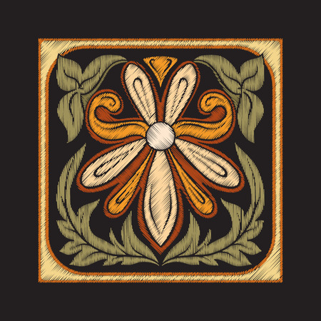 Embroidery with decorative elements in the style of ceramic tile Ilustração