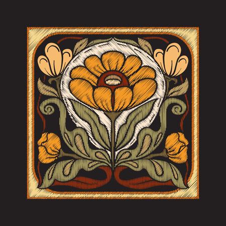 Broderie avec des éléments décoratifs dans le style des carreaux de céramique Vecteurs