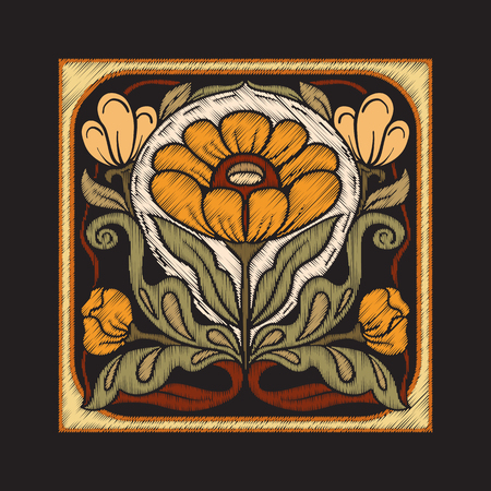 Embroidery with decorative elements in the style of ceramic tile Illustration