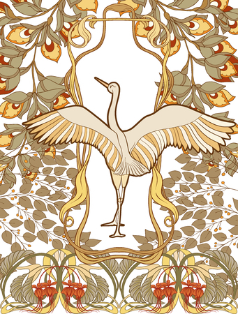 Poster, background with decorative flowers and bird in art nouveau style, vintage, old, retro style.
