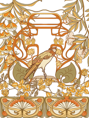 Poster, background with decorative flowers and bird in art nouveau style, vintage, old, retro style. 写真素材 - 107443392