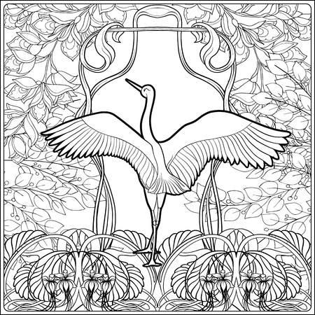 Poster, background with decorative flowers and carp fish in art nouveau style, vintage, old, retro style. Outline coloring page for the adult coloring book. Vector illustration. 矢量图像