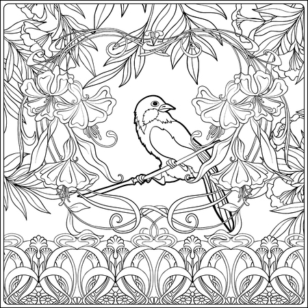 Poster, background with decorative flowers and carp fish in art nouveau style, vintage, old, retro style. Outline coloring page for the adult coloring book. Vector illustration. Vectores