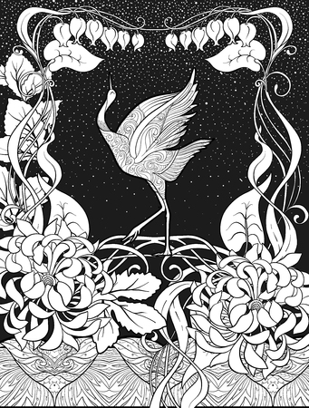 Poster, background with decorative flowers and bird in art nouveau style. Black-and-white graphics. Vector illustration. 矢量图像