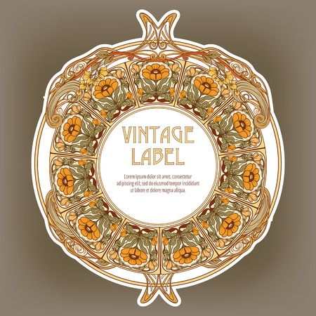 Round Vintage Frame Label for Products or Cosmetics Standard-Bild - 107443424