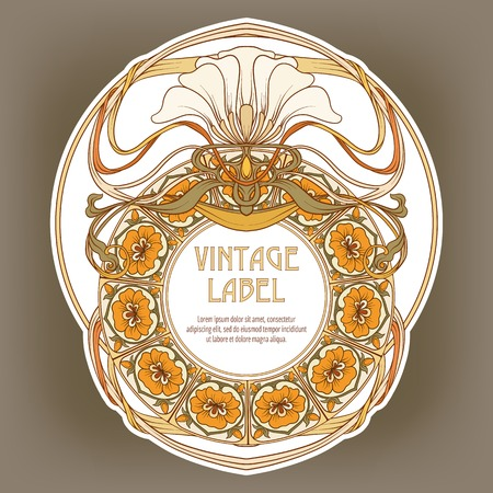 Round Vintage Frame Label for Products or Cosmetics