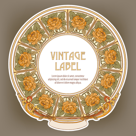 Round Vintage Frame Label for Products or Cosmetics 스톡 콘텐츠 - 107443431