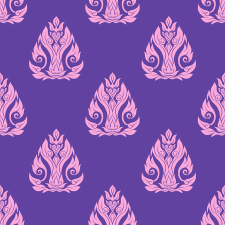 Seamless pattern, background of decorative elements of traditional Thai ornament. Stock vector illustration.