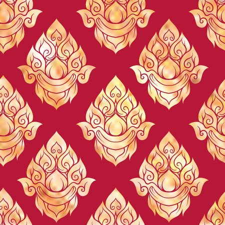 Seamless pattern, background of gold decorative elements of traditional Thai ornament. Stock vector illustration.