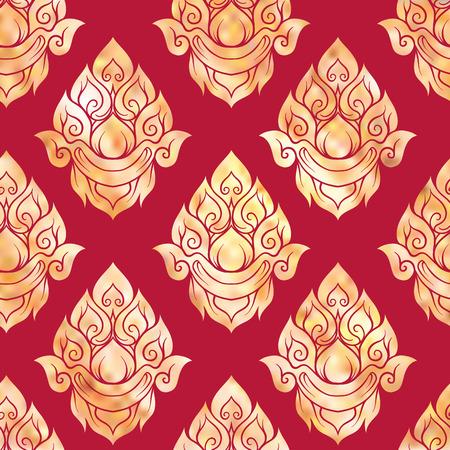 Seamless pattern, sfondo di elementi decorativi in oro del tradizionale ornamento thailandese. Stock illustrazione vettoriale.
