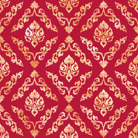 Seamless pattern, background of gold decorative elements of traditional Thai ornament. Stock vector illustration. Stock Vector - 106576743
