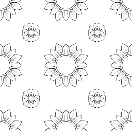 Seamless pattern, background of decorative elements of traditional Thai ornament. Stock vector illustration. Outline hand drawing.