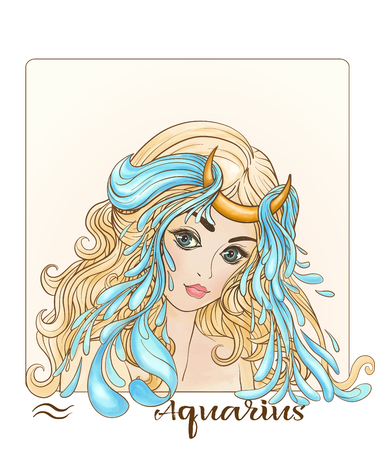 Aquarius. A young beautiful girl In the form of one of the signs of the zodiac.
