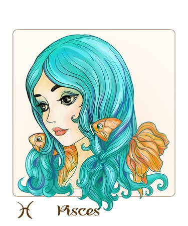 Pisces. A young beautiful girl In the form of one of the signs of the zodiac.