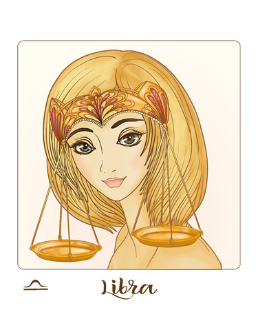 Libra. A young beautiful girl In the form of one of the signs of the zodiac.